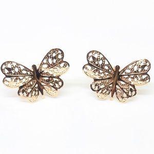 14k Solid Yellow Gold Beautiful Butterfly Earrings